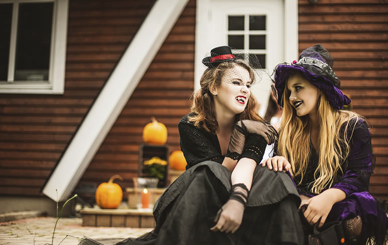 two females dressed up for Halloween